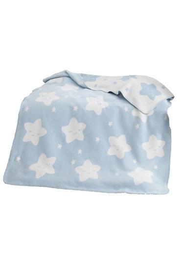 Dolce Bonita Pamuklu Bebek Battaniye Star Mavi